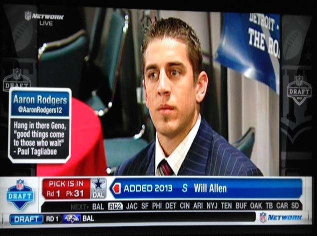 Aaron Rodgers waiting to be drafted in 2005