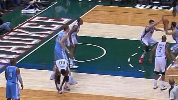Bucks' guard O.J. Mayo stops while