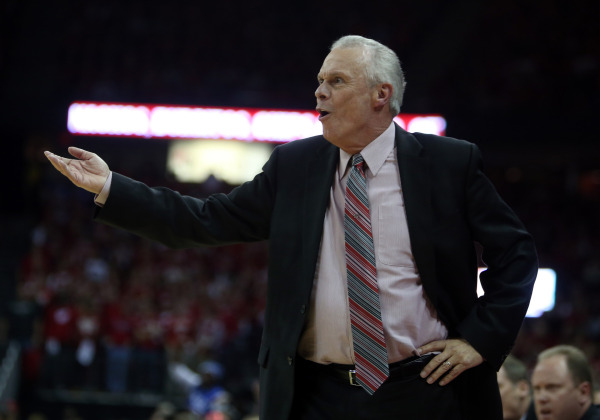 Wisconsin coach Bo Ryan protests a non-call in the first half against Duke. PHOTO: Mary Langenfeld, USA TODAY