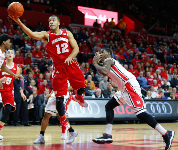 Wisconsin guard Traevon Jackson (12) drives to the basket during the first half against the Rutgers. PHOTO: Jim O'Connor, USA Today
