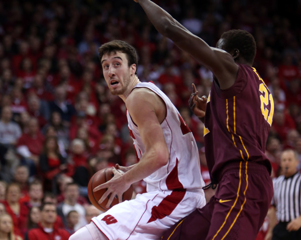 Wisconsin forward Frank Kaminsky (44) looks to shoot as Minnesota center Bakary Konate (right) defends at the Kohl Center. PHOTO: Mary Langenfeld, USA TODAY