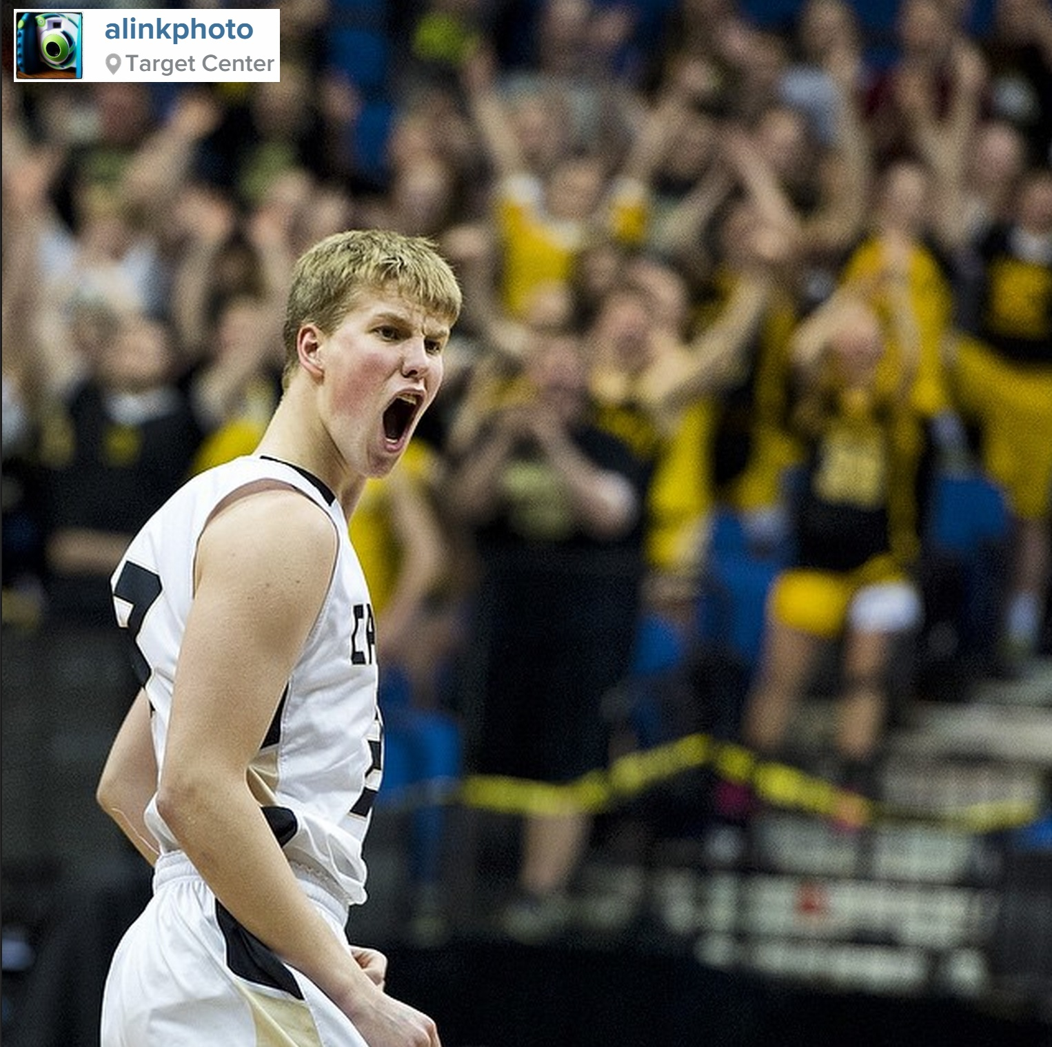 Caledonia's Kyle Sorenson reacts after hitting a 3-pointer in the first half of the state semifinal against Maple River on Friday, March 13, 2015, at the Target Center in Minneapolis. PHOTO: Andrew Link / @ALinkPhoto on Instagram