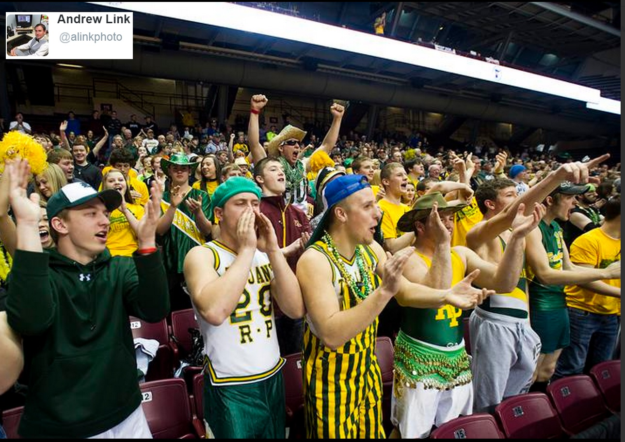 Rushford-Peterson's crowd at the Minnesota state tournament. PHOTO: Andrew Link/@alinkphoto on Twitter