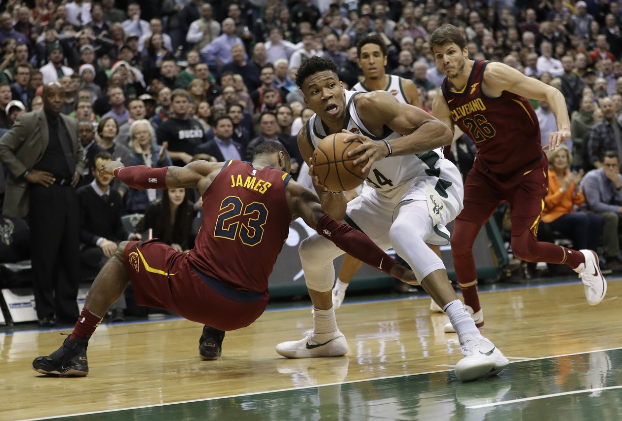 Giannis and-1 saves Bucks, but LeBron makes final seconds interesting with inbound off Greek Freak's back, drains 3