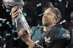 Eagles Foles Super Bowl Trophy AP