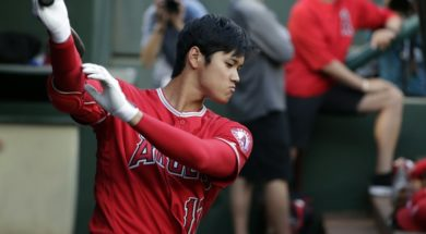Angels Shohei Ohtani bat dugout AP