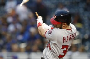 Nationals Bryce Harper broke bat AP