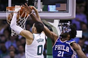 Celtics Tatum Dunks on Sixers Embiid AP