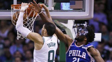 Celtics Tatum Dunks on Sixers Embiid AP
