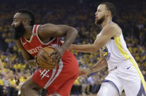 Rockets Harden drives by Curry Golden State West Finas AP