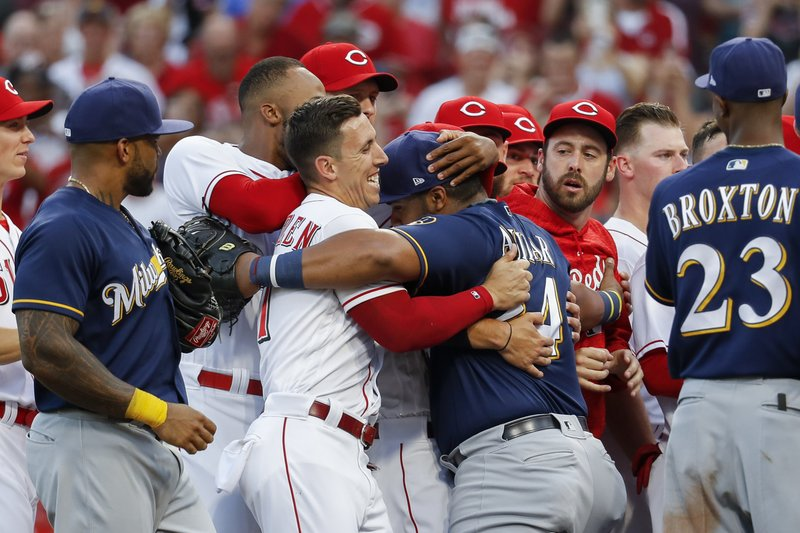 Thames homers, benches clear as Brewers beat Reds 6-4