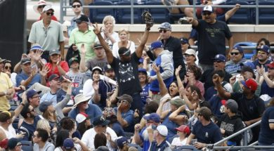 MLB Padres fans cheer foul ball catch AP