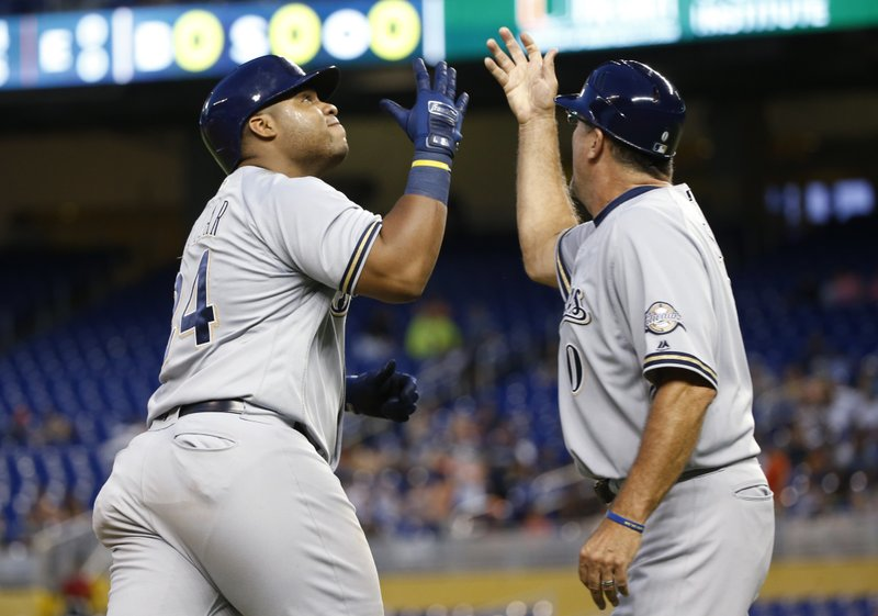 NL HR leader Aguilar hits another bomb, but NL-best Brewers lose to NL's worst in extras