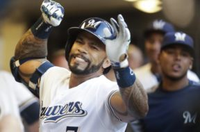 Brewers Eric Thames celebrates AP