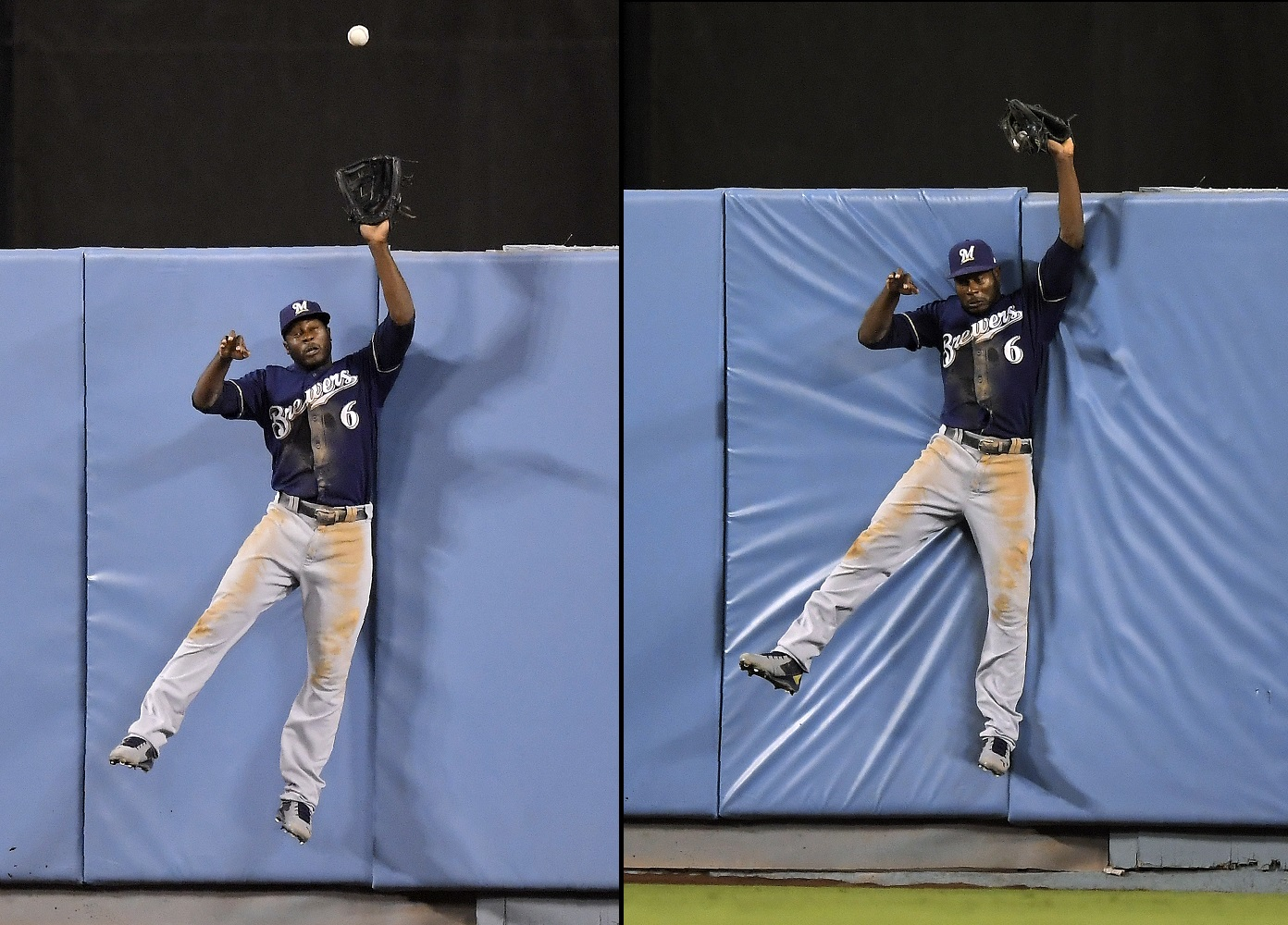 Cain saves day, robbing game-tying HR in 7th, as Brewers shuts down Dodgers