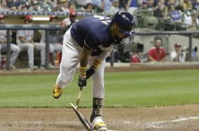 Brewers Orlando Arcia breaks bat AP