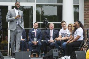 LeBron James school suit AP