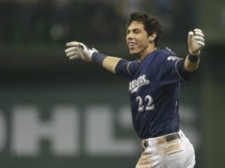 Brewers Christian Yelich arms wide