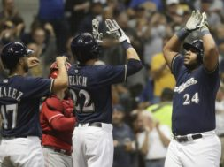 Brewers Jesus Aguilar celebrates AP