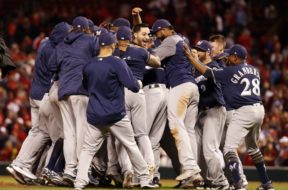 Brewers celebrate playoffs AP