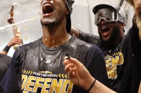 Brewers celebrate playoffs beer AP