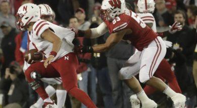 Badgers TJ Edwards sack Nebraska Martinez AP