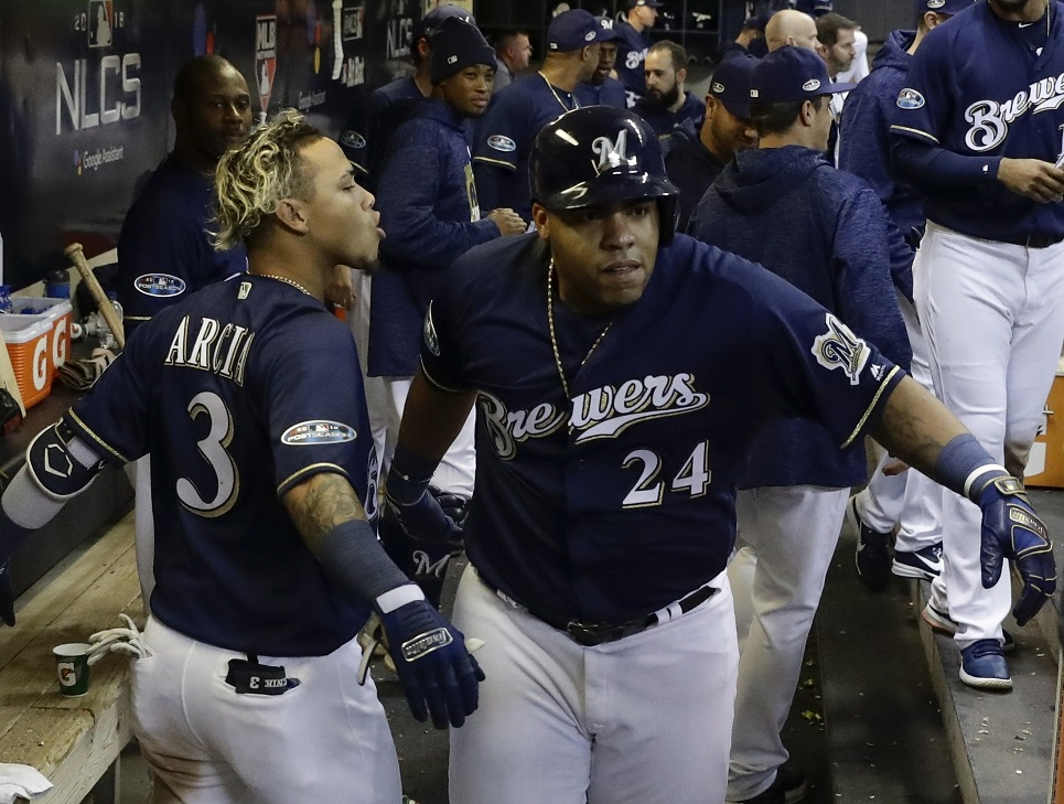 Brewers boot Kershaw early, hold off Dodgers late in NLCS opener