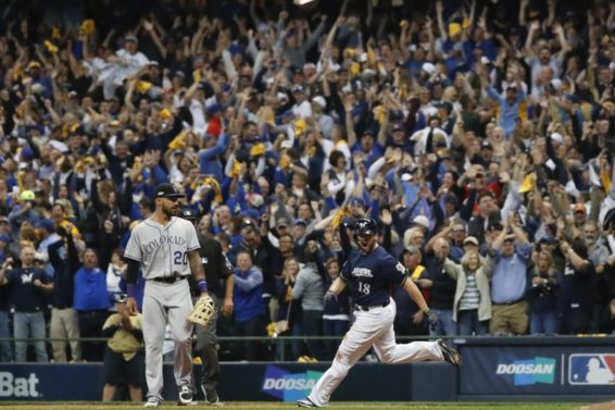 Brewers Mike Moustakas Game 1 AP