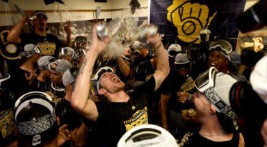 Brewers beer celebration AP