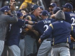 Brewers celebrate NLDS 2 AP