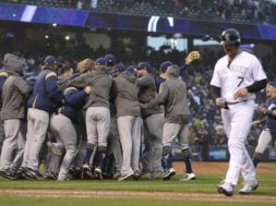 Brewers celebrate NLDS AP