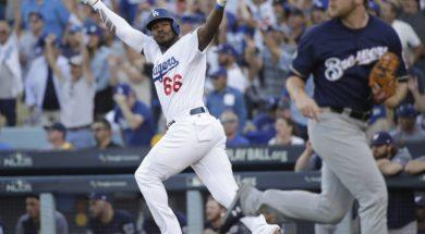 Dodgers Yasiel Puig celebrate AP