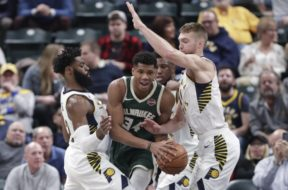Pacers surround Giannis Bucks AP