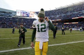Packers Aaron Rodgers stocking cap AP