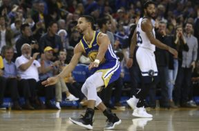 Warriors Steph Curry 3 dance AP