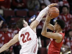 Badgers Ethan Happ blocks NEbraska Palmer AP