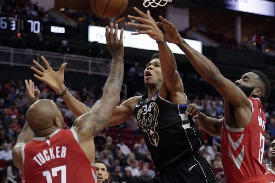 Bucks Giannis Rockets Harden Tucker AP
