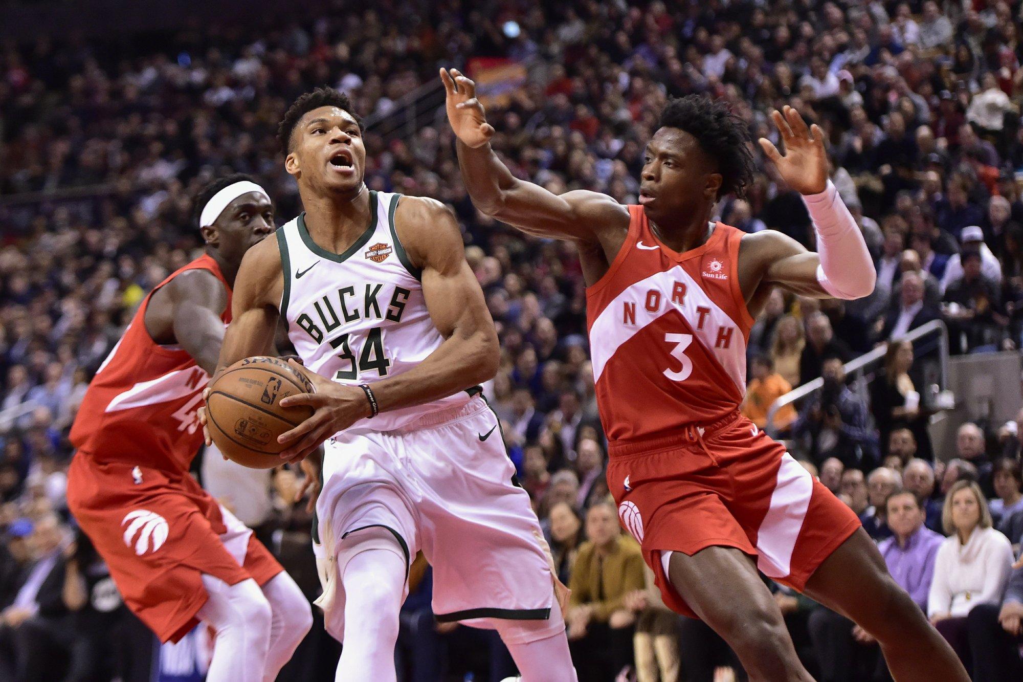 Antetokounmpo scores 19, Bucks beat Raptors 105-92