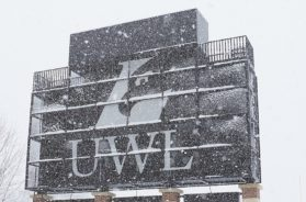 UWL scoreboard in snow
