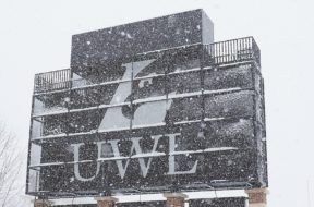 UWL scoreboard in snow