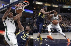 Bucks Giannis v Pacers AP