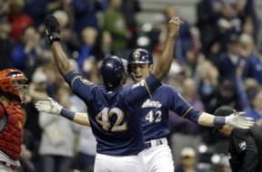 Brewers Yelich celebrates HR Cain AP