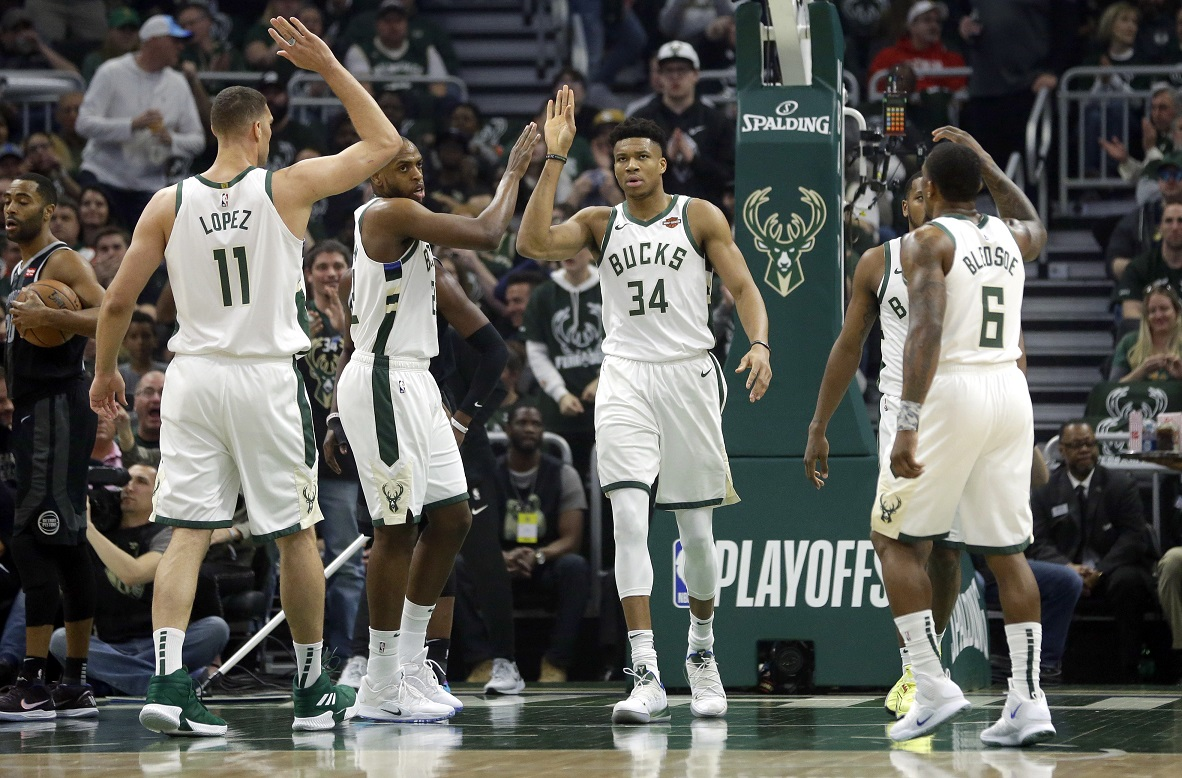 Down at halftime, Bucks pull away from Pistons, hold home court advantage