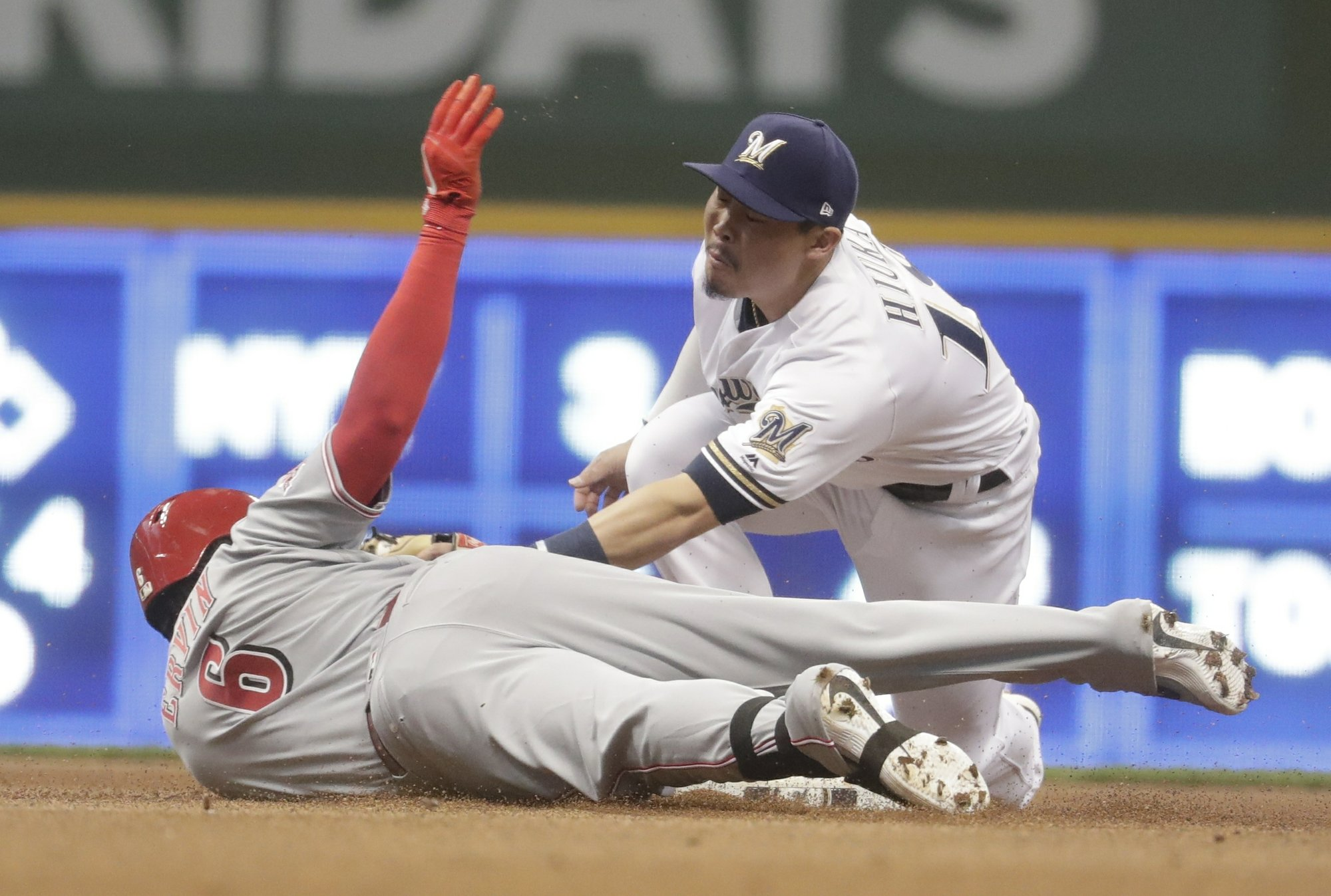 Yelich late scratch as Reds strike out 14, shut out Brewers