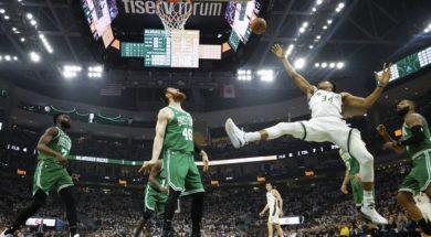 Giannis goofy shot Celtics AP