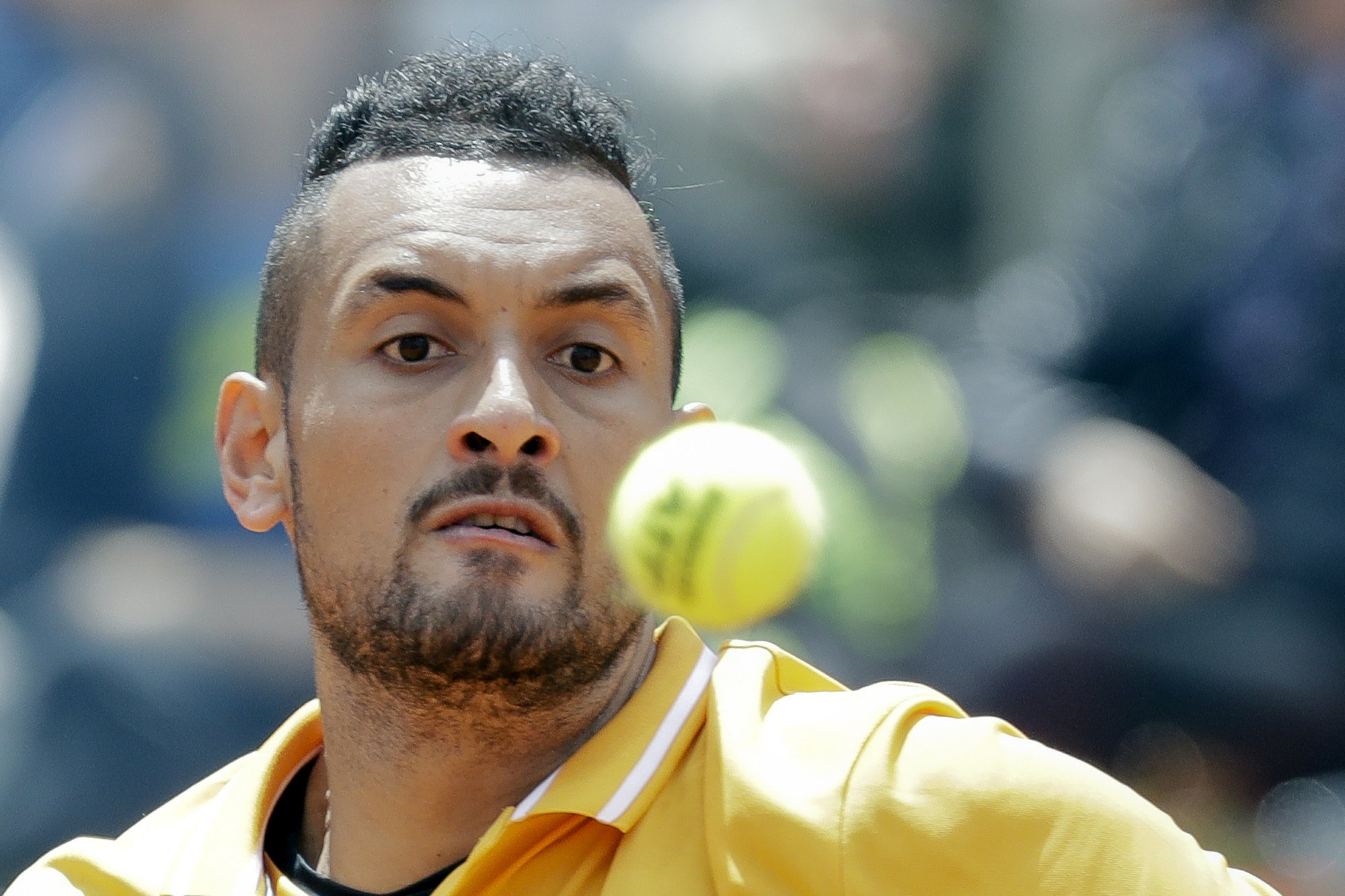 Kyrgios defaulted for throwing chair onto court in Rome