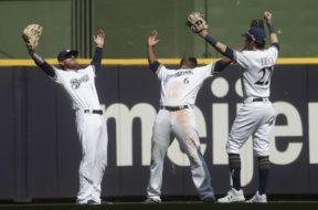 Brewers celebrate Marlins win AP
