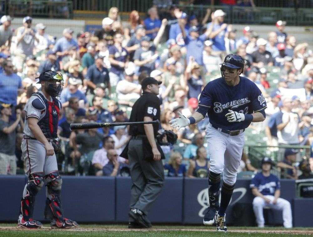 Yelich back in tie for MLB HR lead, Brewers hold off Braves