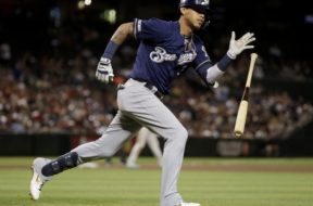Brewers Orlando Arcia bat AP