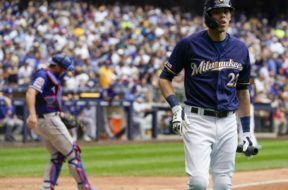 Brewers Yelich walk dugout AP